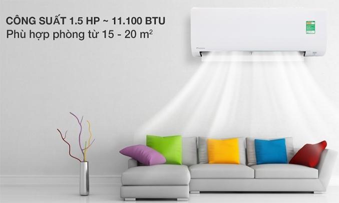 Máy lạnh Daikin 1.5 HP FTC35NV1V màu trắng được thiết kế hiện đại